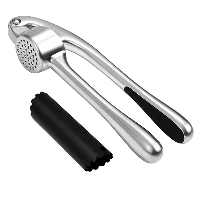 Garlic Press, WINSEE Heavy Duty Garlic and Ginger Press Peeler Set, Professional Kitchen Mincer with Silicone Tube Roller, Dishwasher Safe