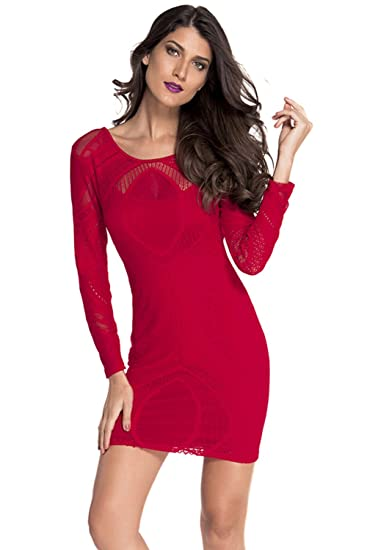 309b85748e7f ROYAL WIND Red Lace Nude Illusion Long Sleeves Bodycon Dress M at Amazon  Women s Clothing store