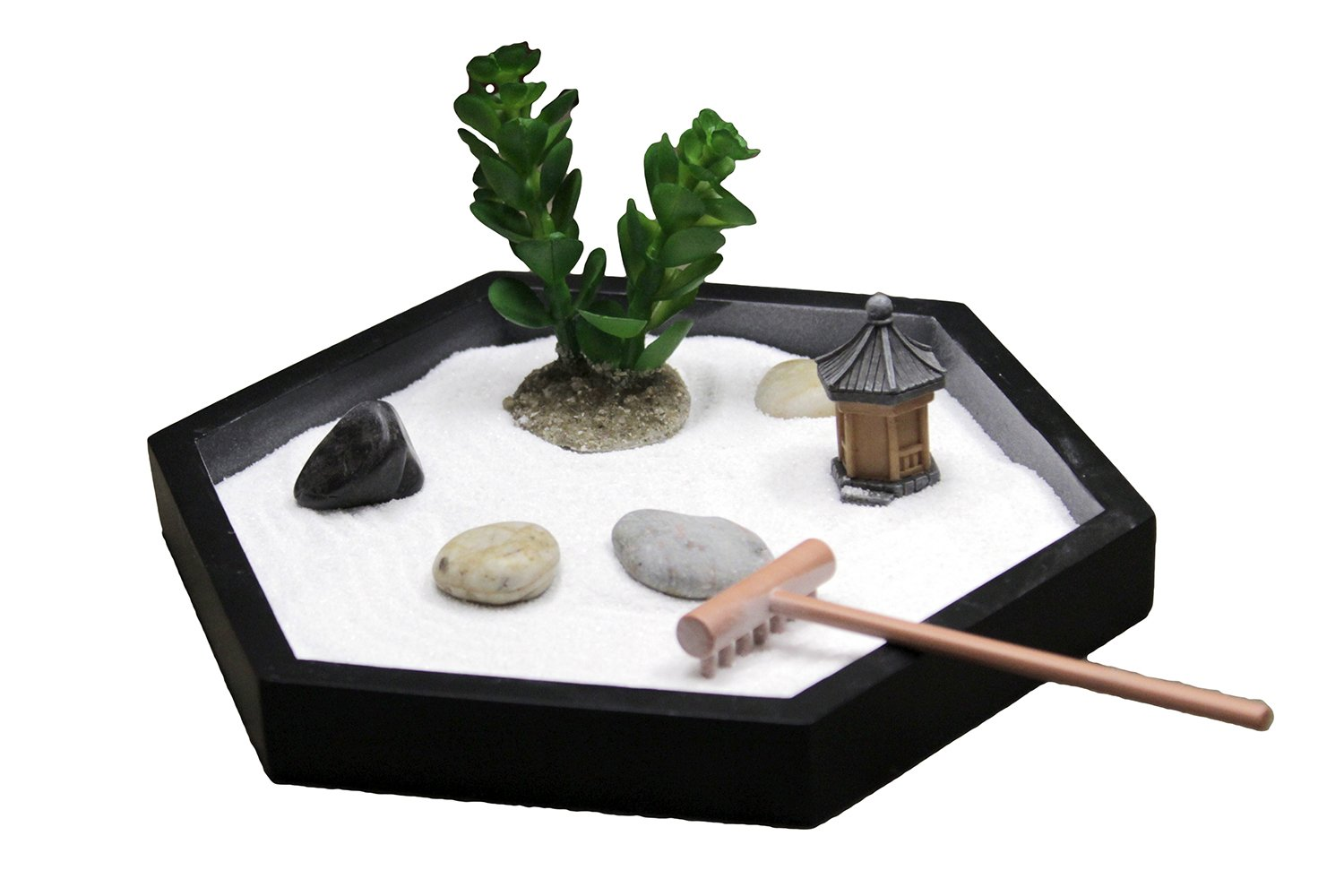 Nature's Mark, Mini Meditation Zen Garden, 7 x 6 Inches Hexagon with Succulent, Figures and Natural River Rocks (7L x 6W)