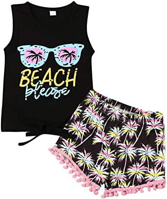 puseky Toddler Kid Girls Feather Sleeveless Vest Top+Shorts+Headband Outfits Set