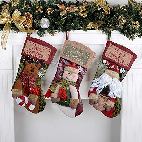 QBSM Classic Cute Deer Christmas Stockings Decorations Stocking Holders Gift Bag Xmas Character 3D Plush Linen Hanging Tag Set of 3 Santa, Snowman and Deer 19 inch by QBSM
