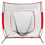 BBBuy 7 x 7 Feet Baseball & Softball Practice Net with Bow Frame| Practice Hitting, Pitching, Batting and Catching | Backstop Screen Equipment Training Aids | Includes Carry Bag
