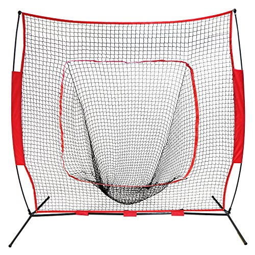 BBBuy 7 x 7 Feet Baseball & Softball Practice Net with Bow Frame| Practice Hitting, Pitching, Batting and Catching | Backstop Screen Equipment Training Aids | Includes Carry Bag by BBBuy