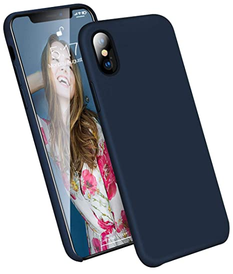 on sale f4055 0bfc3 iPhone Xs Max Case, KUMEEK [Ultra-Slim Series] Liquid Silicone iPhone Xs  Max Case Rubber Shockproof with Soft Microfiber Cloth Cushion Blue Thin Fit  ...