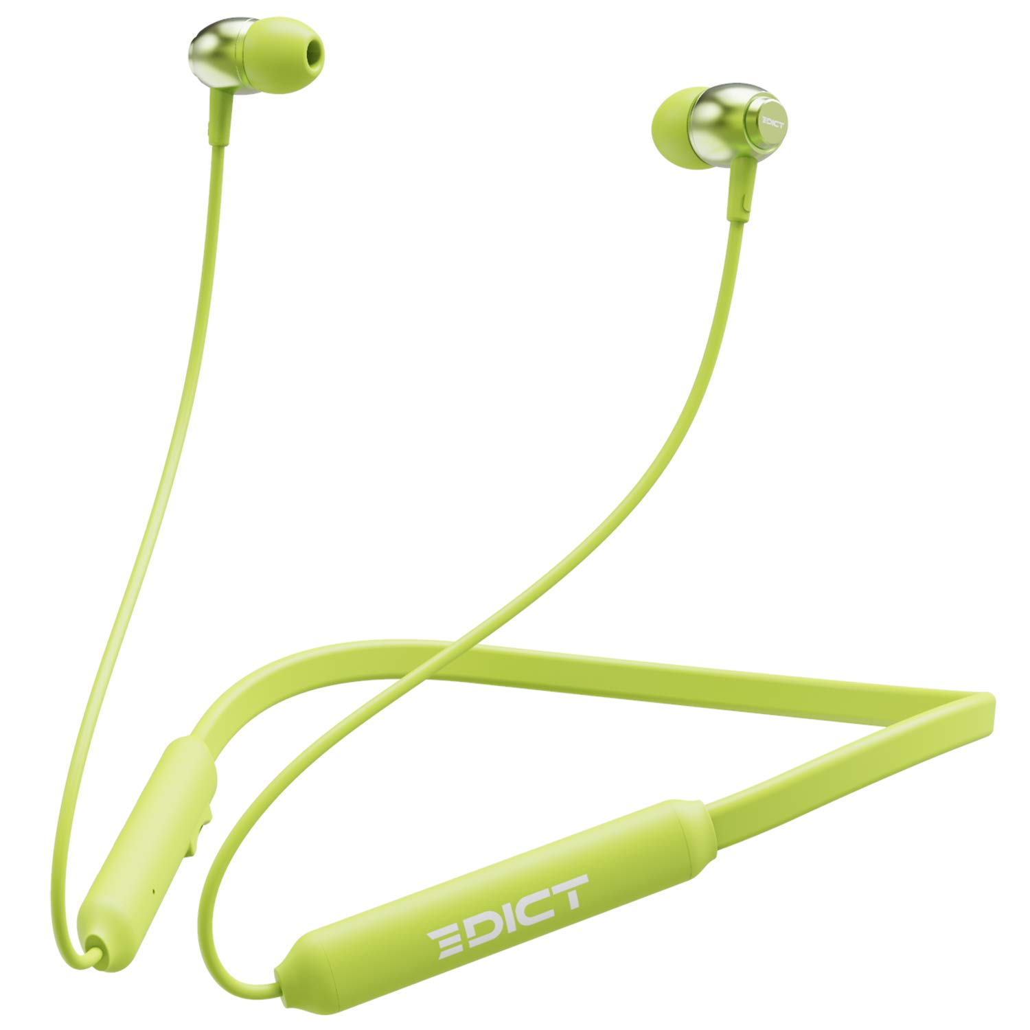 EDICT by boAt EWE02 in-Ear Wireless Neckband with Bluetooth V5.0, Engaging Sound, Comfort-fit Lightweight Design,Dual Pairing,IPX4 Water & Sweat Resistance, Up to 8H Playtime and Voice Assistant(Lime)
