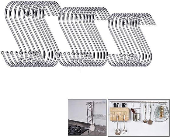 Pat/ère L 10 Pack Crochets en S de Suspension pour Cuisine Salle de Bains,Chambre,Serviette et Viande Boucher
