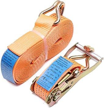 2 x 5000kg 10m Ratchet Tie Down Lashing Strap 2pcs Set Heavy Duty Tensioning Belt Material Handling EN 12195-2 with Belt Width of 5cm 5 Tonne Claw Hook