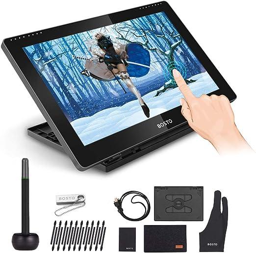 Tickas BT-16HDTポータブル15.6インチH-IPS LCDグラフィックス描画タブレットディスプレイサポート容量性タッチスクリーン8192圧力レベルパッシブテクノロジーUSB駆動低消費量描画タブレット、インタラクティブスタイラスペン