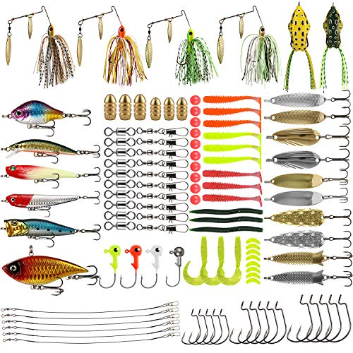 Magreel Fishing Lures Kit, 110Pcs Fish Baits Kit Set with Tackle Box Including Crankbaits, Spinnerbaits, Spoons, Topwater Lures, Swimbaits, Rubber Worms, Jigs, Fishing Hooks