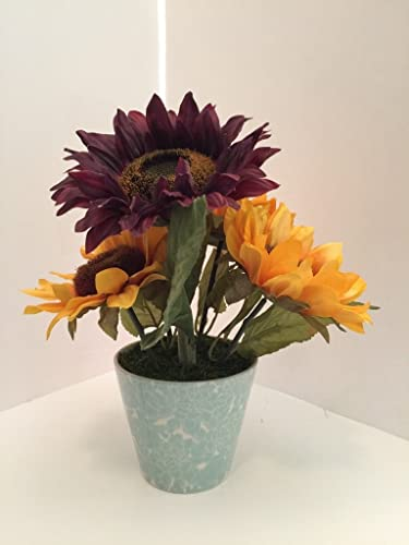 Amazon Country Farm Teal Blue Floral Vase Purple And Yellow