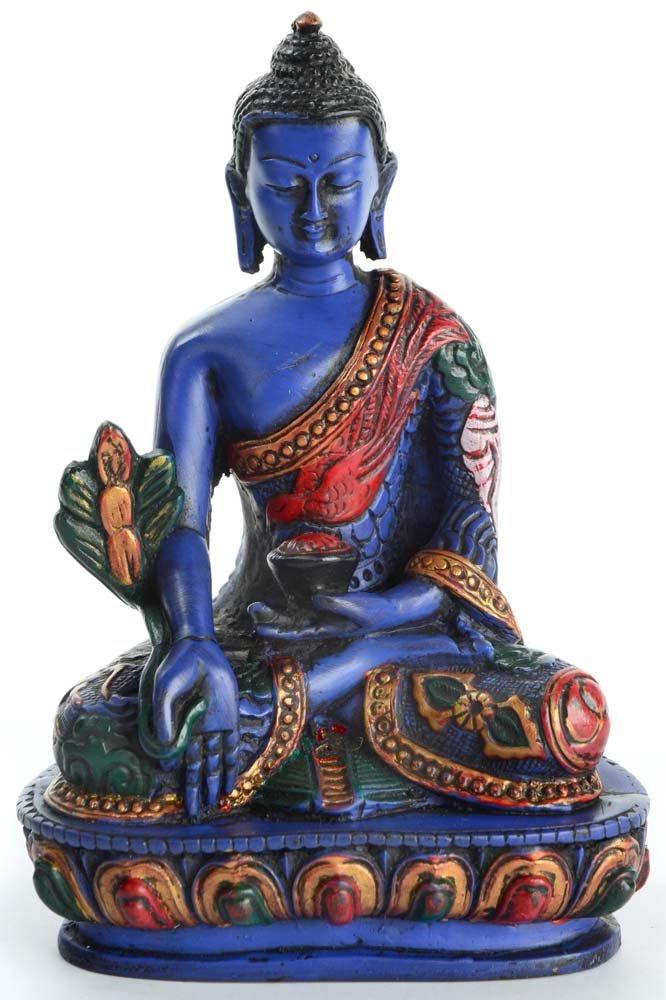 Medizinbuddha Buddhastatue aus Resin bemalt 13,5 cm hoch blau