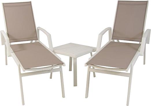 Conjunto de jardín, 2 tumbonas reclinables con Brazos + 1 mesita Auxiliar, Aluminio Reforzado Blanco y textilene 2x2 taupé: Amazon.es: Jardín