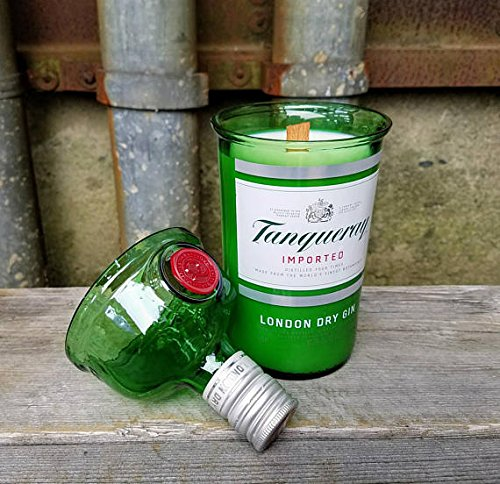 Tanqueray Gin Soy Candle- Cut Bottle Re-purposed Recycled Liquor