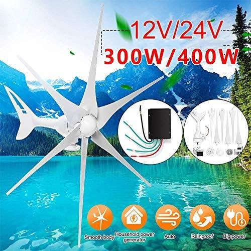 CTO 300W / 400W 12V / 24V Windgenerator + Controller 6 Blade-Windkraftanlagen Horizontale Startseite Powers Windmühle Energie Turbines Charge (Spezifikation: 400W 12V),300W 12V