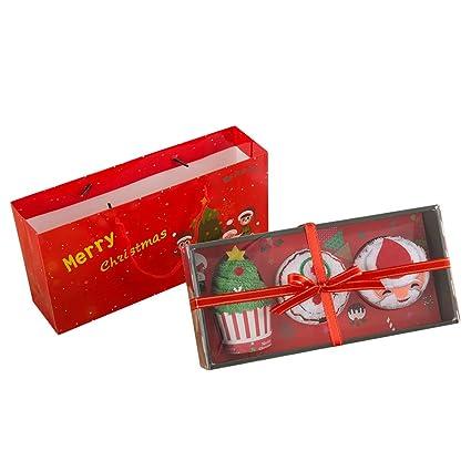 Jamron Unisexo Adultos Niños Navidad Novedad Regalo 3 PCS Juegos de Toallas 30cm * 30cm con Paquete de Regalo: Amazon.es: Hogar