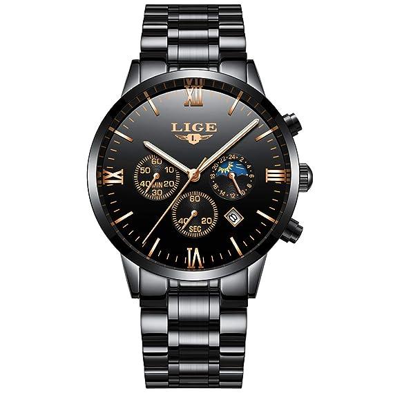 LIGE Marca Hombres Reloj De Acero Inoxidable Impermeable Deporte Reloj De Cuarzo Analógico Hombre Moda Fase Lunar Negro Reloj Clásico