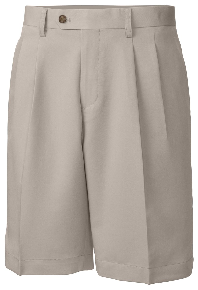 Cutter & Buck Big & Tall Pleated Twill Microfiber Shorts (46 Long, Oyster) by Cutter & Buck