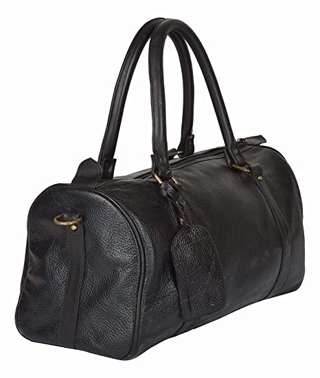 Rayite Adult Hunter Buff Leather Duffle Bag Larger Black 7007458fe07