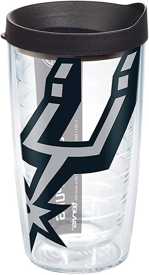 Clear Tervis NBA San Antonio Spurs Colossal Tumbler with Wrap and Black Lid 24oz