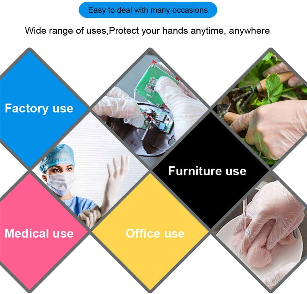 Medium Non-Sterile for Kitchen Cleaning Industrial Hair Dye Healthcare Gloves 100 Pack White Disposable PVC Vinyl Gloves Heavy Duty Gloves Examination Gloves Latex Free Rip Resistant Powder Free
