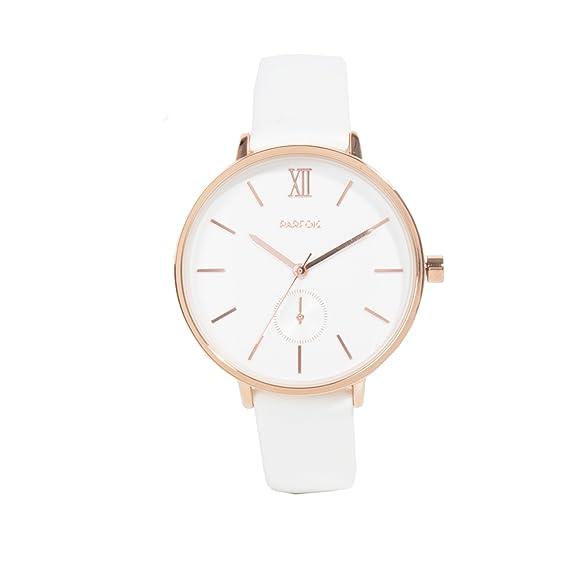 Parfois - Reloj Round - Mujeres - Tallas Única - Blanco: Amazon.es: Relojes