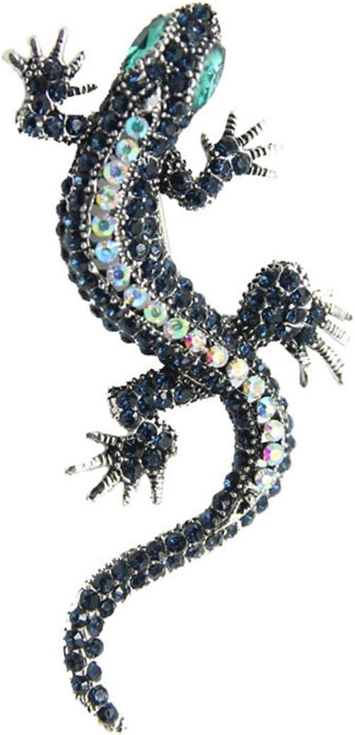Winwinfly Broches de style de l/ézard pour la chemise des femmes en m/étal broches strass mignon broches bijoux,Bleu