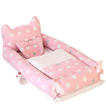 Abreeze Baby Bassinet for Bed 100/% Cotton Portable Crib for Bedroom//Travel 0-24 Months Breathable /& Hypoallergenic Co-Sleeping Baby Bed Dinosaur Baby Lounger