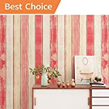 17.8''(45 cm) X 118''(3 m) Wood Contact Paper Pink Self-Adhesive Decorative Wood Contact Paper Distressed Peel Stick Wallpaper Decor Great for Counter Cabinets Furniture Wall Waterproof Stain-Resistant