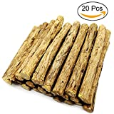 Malier 20 Pieces Cat Catnip Natural Thick Matatabi (Silvervine) Chew Sticks Teeth Grinding Chew Toys for Cat Kitten Kitty- Diameter 0.4-0.6 inches