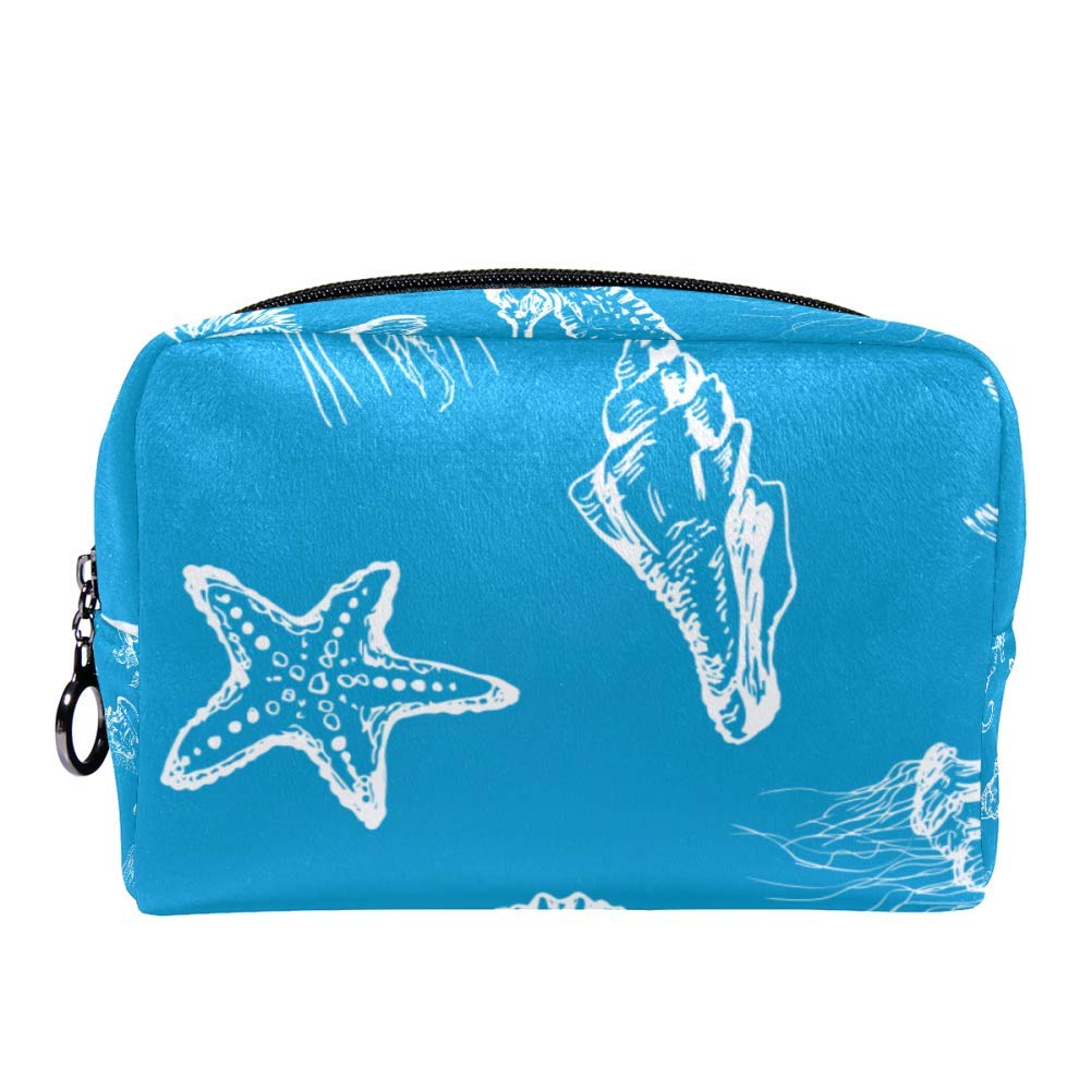 MAPOLO Sea Creatures Makeup Bag Toiletry Bag for Women Skincare Cosmetic Handy Pouch Zipper Handbag