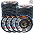 BENOX 20-Pack Metal Grinding Flap Disc 4-1/2 x 7/8 Arbor T29 Angle Grinder Attachment Tool Grit 40/60/80/120 Pack BX-121130