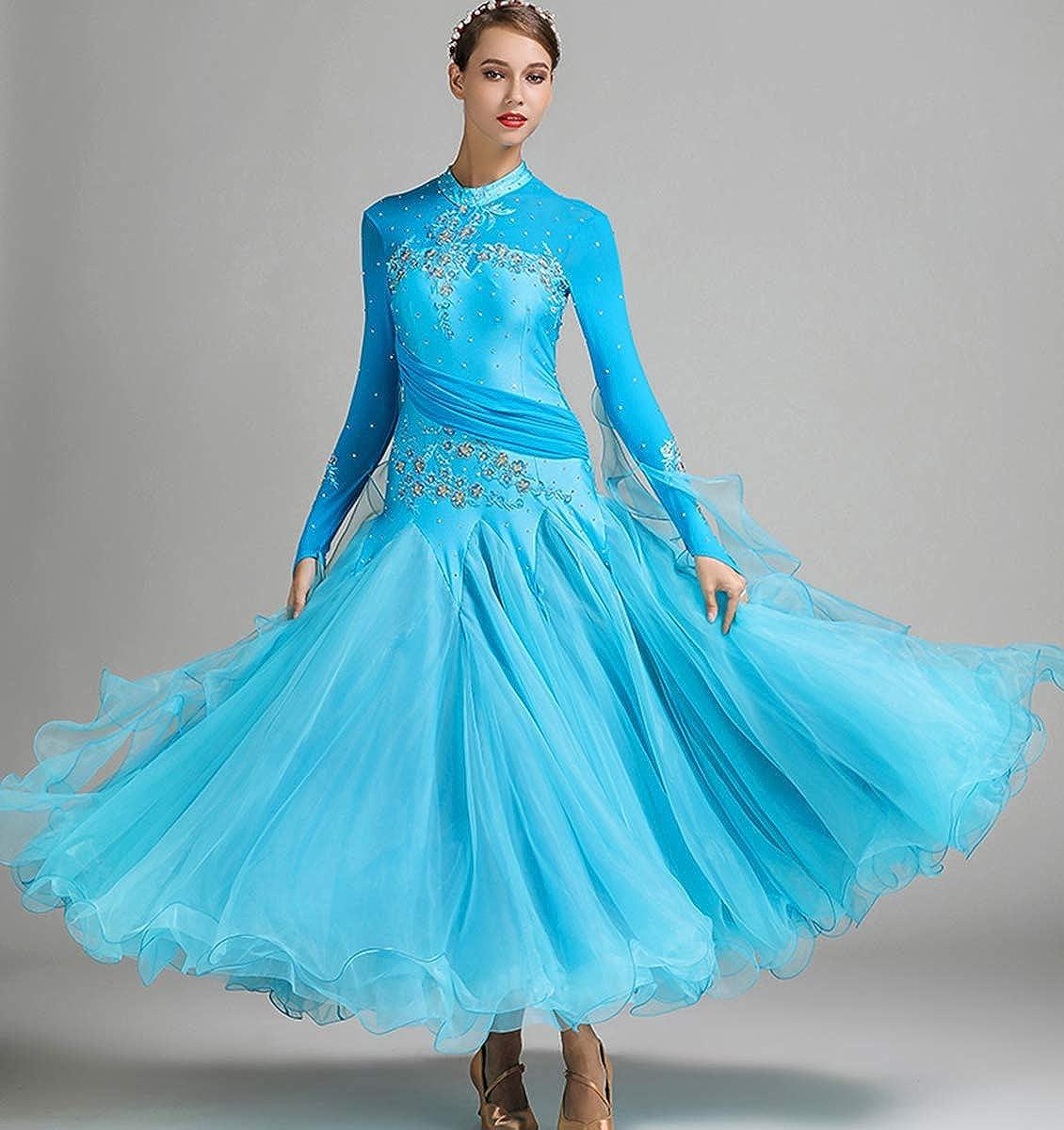 ZX Womens Ballroom Dance Dress Fancy Rhinestone Smooth Professional Modern Waltz Competition Dress Prom Dance Dress