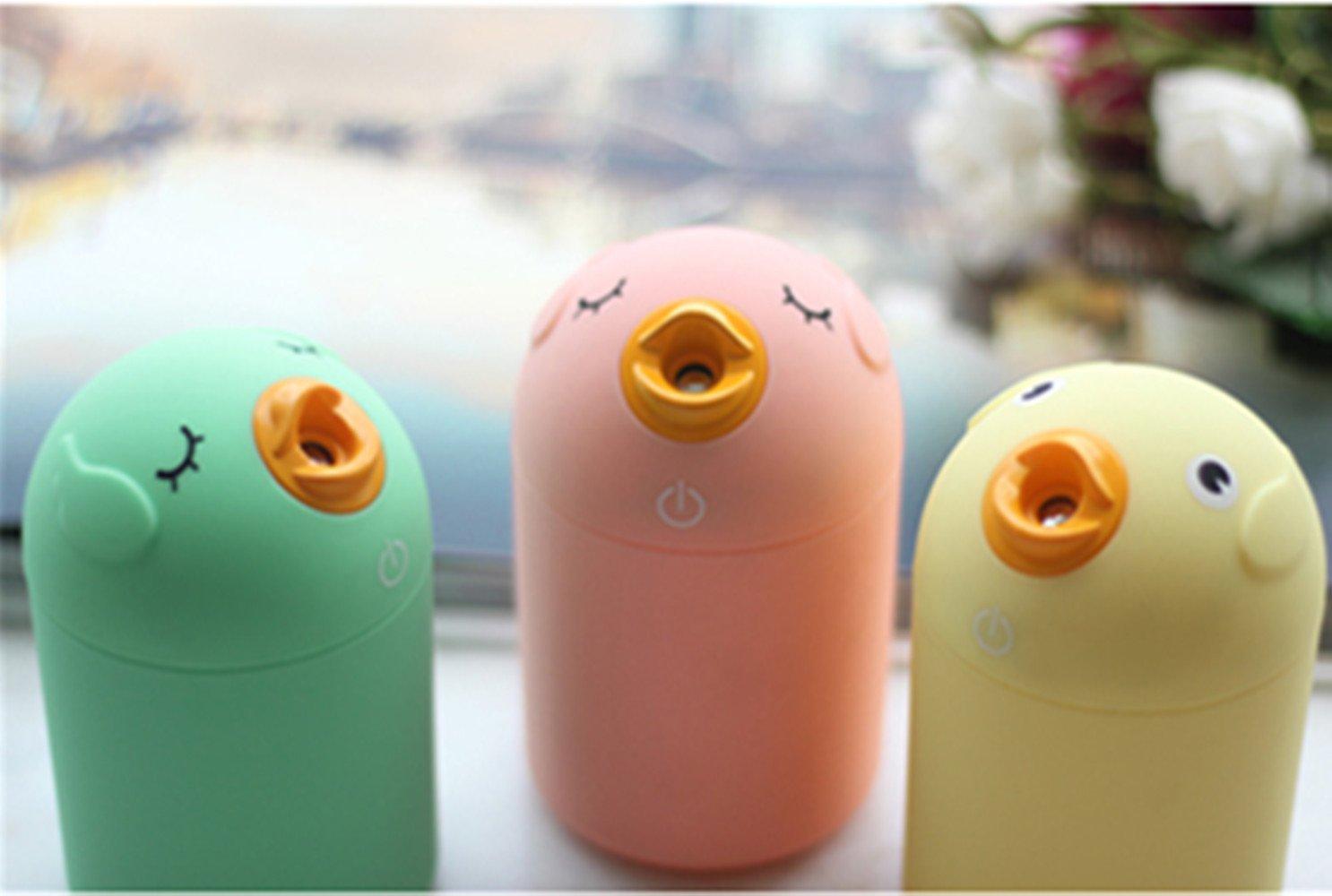 JINBEST Mini Portable USB Charging Ultrasonic Air Humidifier Mist Maker Cute Bird Ultrasonic USB SPA Humidifier (Yellow)