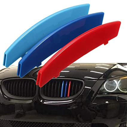 M Color ABS Kidney Grill Bar Grille Covers Decal Strip Clip For BMW 3 Series F30