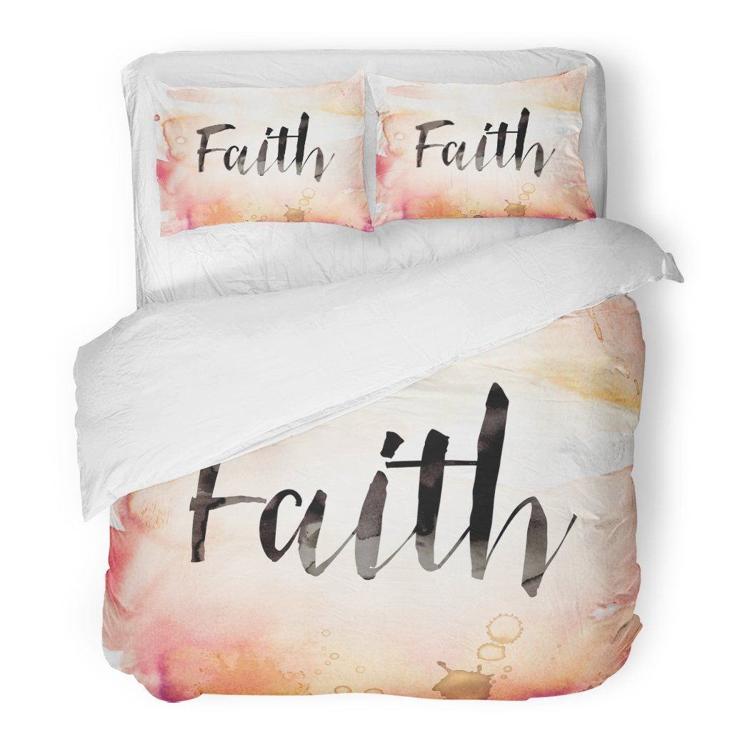SanChic Duvet Cover Set Christian The Word Faith Written in Watercolor Washes Paint Drips God Christ Decorative Bedding Set 2 Pillow Shams King Size