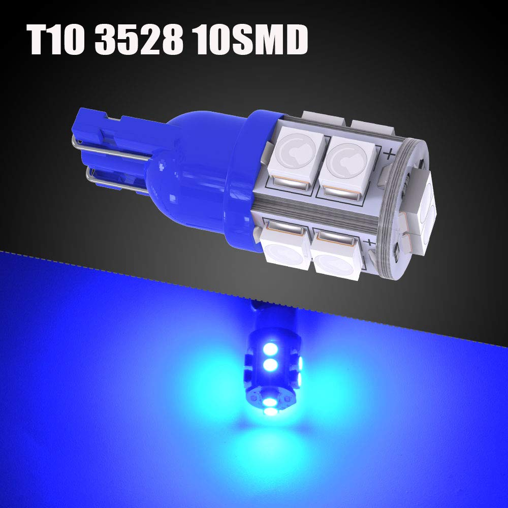 W5W 2825 158 192 175 162 Replacement LED Interior Lights Bulb for Trucks Car License Plate//Map//Dome//Trunk//Light Bulb YITAMOTOR 20 Pack White T10 168 194 Wedge LED Light Bulbs 10-SMD 12v