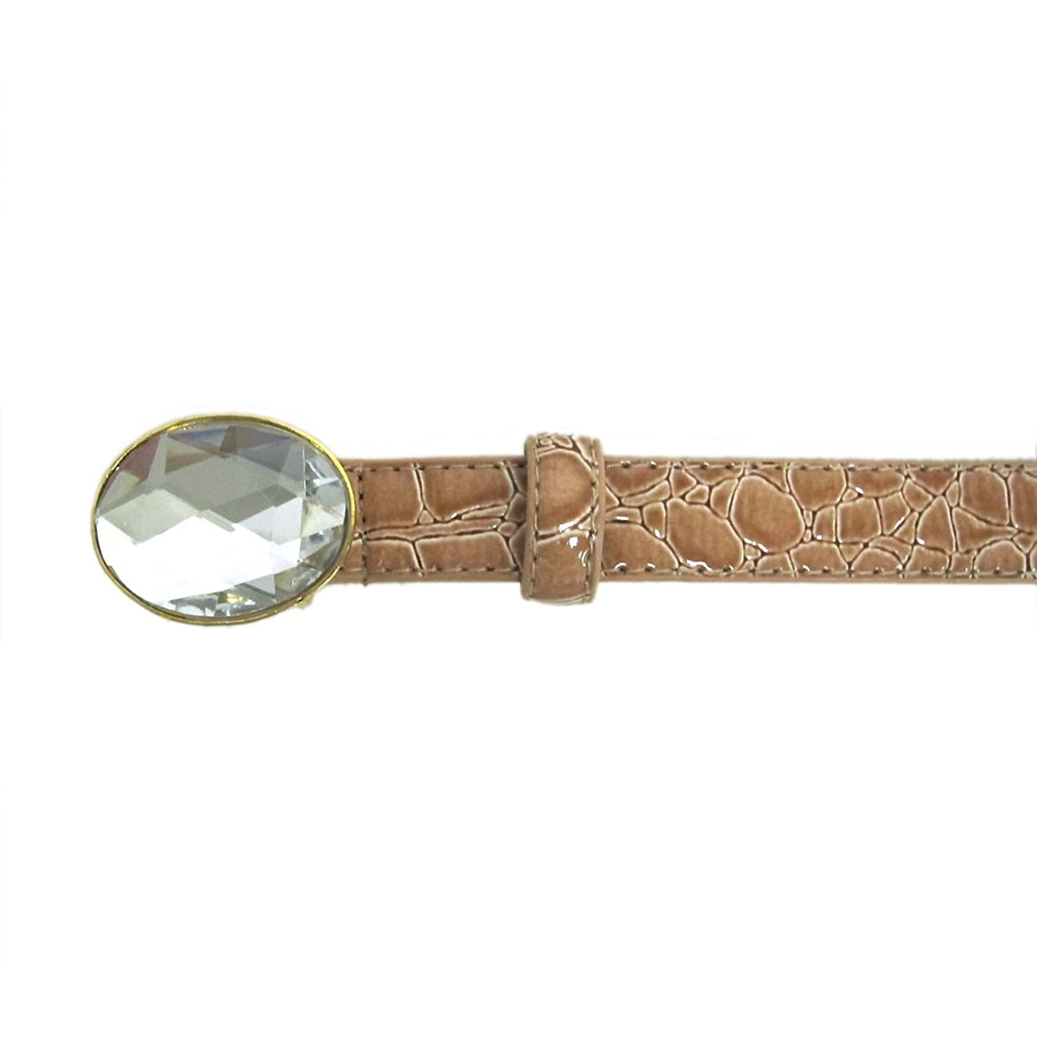 "3/4"" Women's Fashion Oval Buckle with Precious Stone on Quality Croc Leatherette Belt"