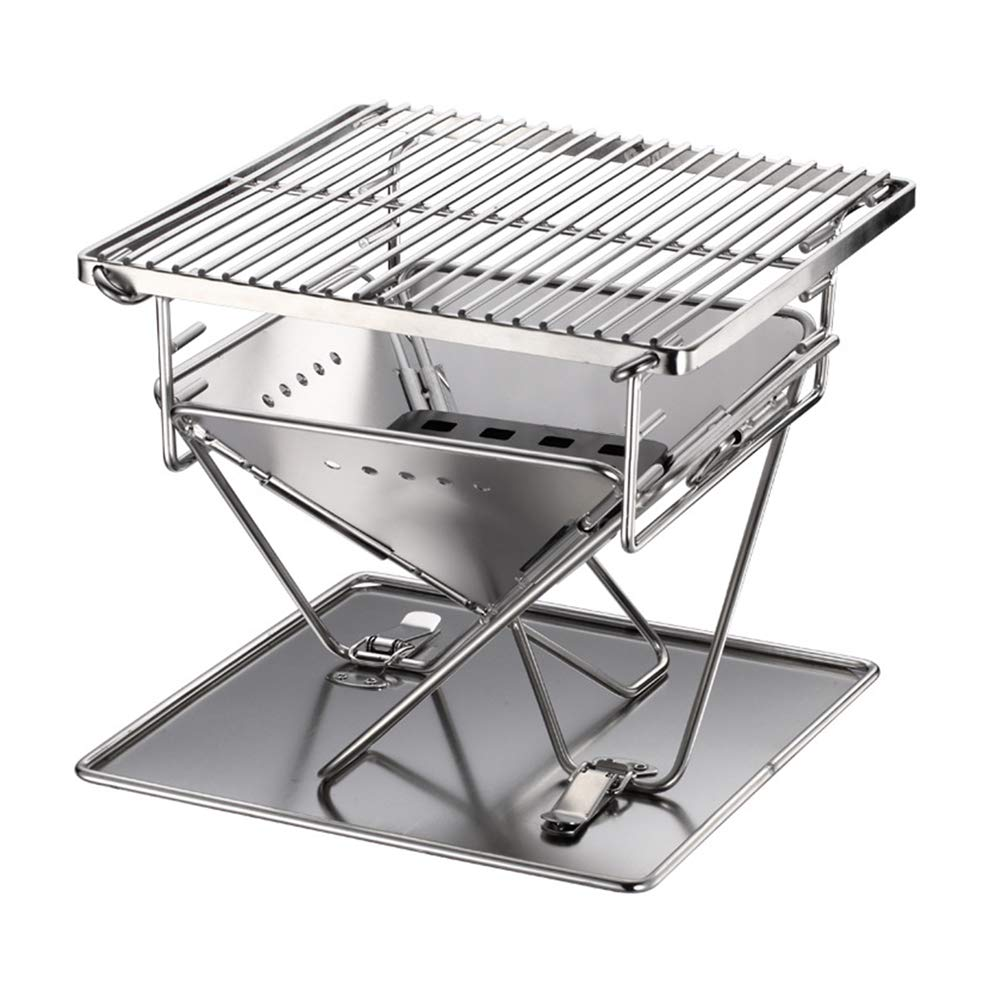 LYY Stainless Steel Foldable Double Charcoal Grill, Outdoor BBQ Camping Couple Gril for 1-2 People