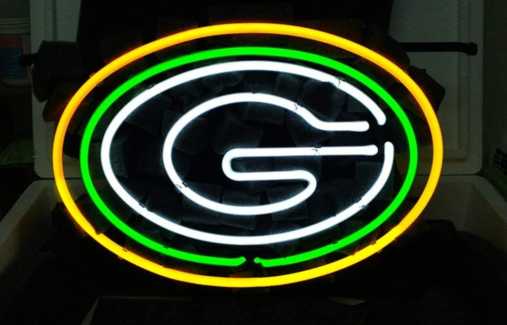 Amazon Com Queen Sense 14 X10 Green Bay Packer Neon Sign Light Beer Bar Pub Man Cave Real Glass Lamp De23 Kitchen Dining