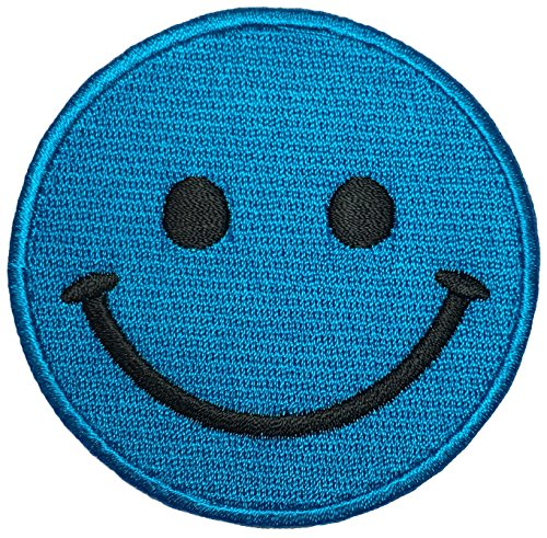 Papapatch Smiley Happy Face Smile Fun Logo Hippie Retro Jacket T-shirt Costume DIY Applique Embroidered Sew Iron on Patch - Blue (IRON-SMILEY-BL)