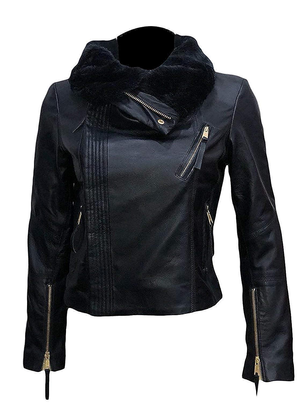 Mazdurr Outfits Women Gal Gadot Wonder Women Black Leather Jacket