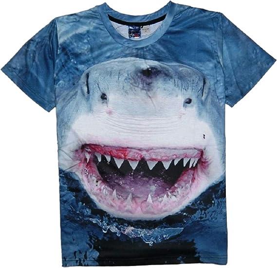Moda T Shirt 3D Tiburón Impresión Polo tee Shirt Manga Corta ...