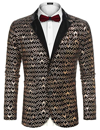 COOFANDY Men Fashion Velvet Shiny Floral Pattern Casual Two Button Blazer Jacket Prom Coat