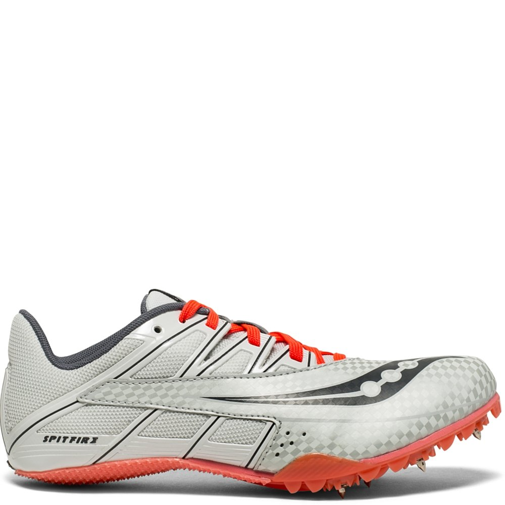 Saucony Women's Spitfire 4 Track and Field Shoe, Silver/Pink, 8.5 Medium US by Saucony