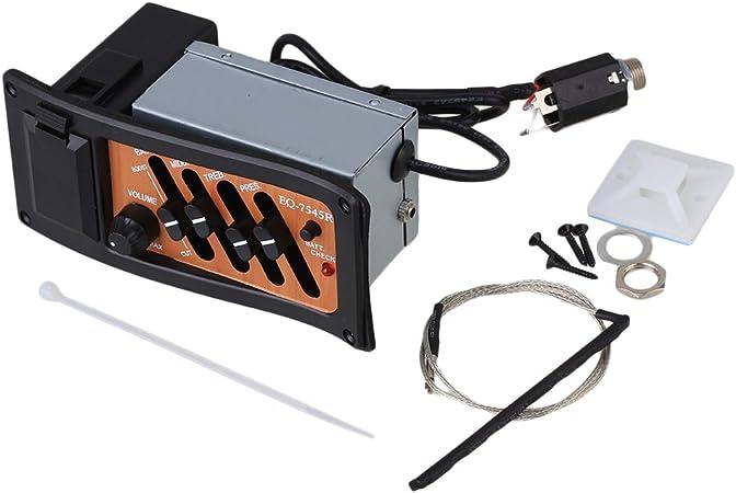 Mxfan EQ-7545R - Pastilla para guitarra acústica (4 bandas, incluye caja de batería e indicador): Amazon.es: Instrumentos musicales