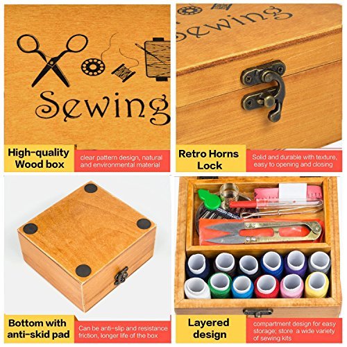 Sewing Kits, Amagoing Wooden Sewing Box Sewing Organizer Basket with Sewing Accessories