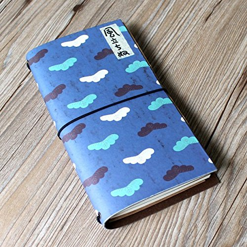 Chris-Wang 1Pk Refillable Handmade A6 Wirebound Traveler's Notebook for Diary, Travel, Journal and Note (1 Kraft FileBill Pocket and 2 Filler Book In…