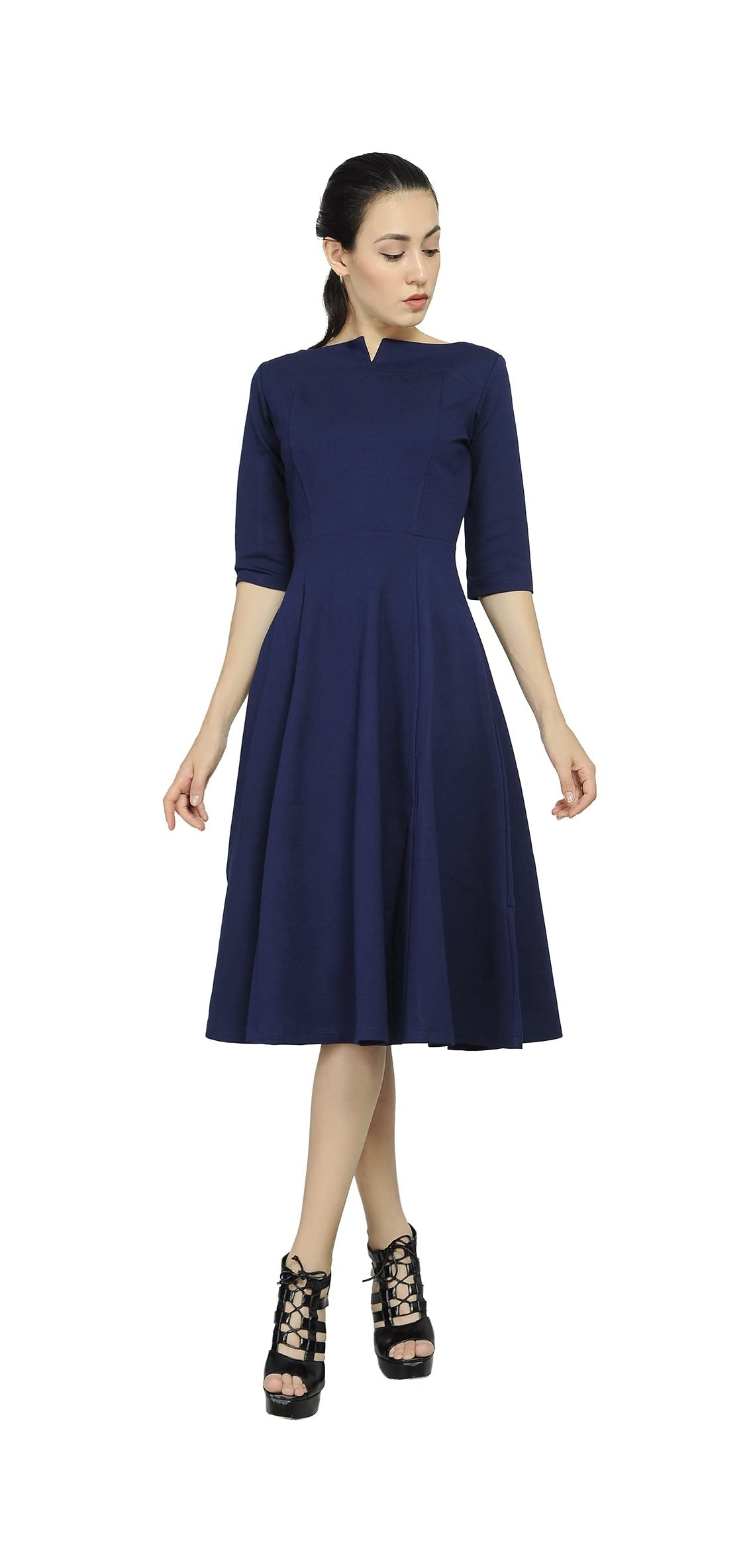 Women's Fit Flare Tea Midi Dress For Office Business