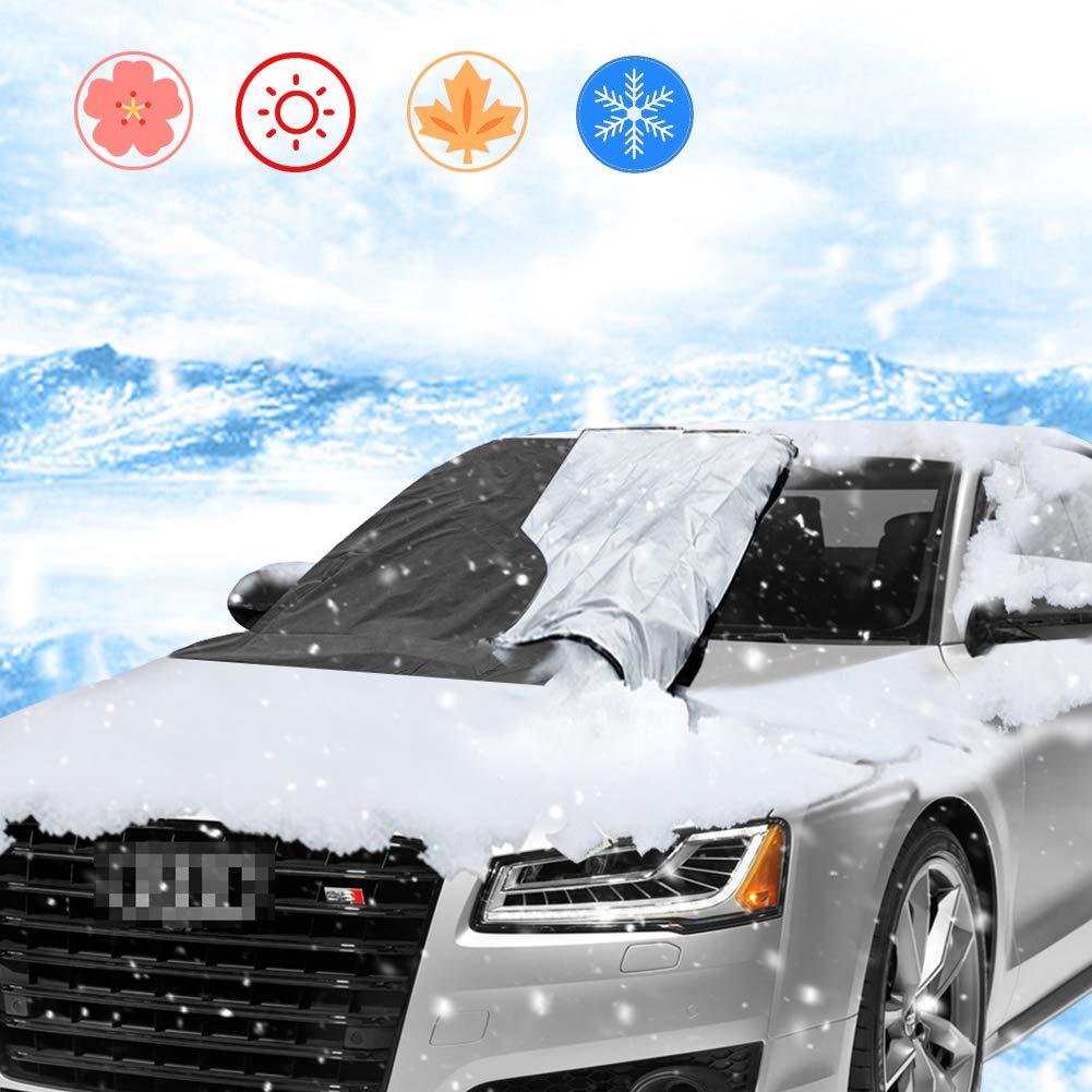 Couverture pare-brise voiture, CXvwons Bache Pare Brise Protection magné tique pour pare-brise de voiture Anti-Neige Anti-poussiè re Anti-givre Anti UV pour SUV La Plupart des Vé hicules (210 x 120 cm) (Noir + Argent)