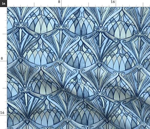 (Navy Fabric - Blue Art Deco Diamonds Stained Glass Art Print on Fabric by The Yard - Sport Lycra for Swimwear Performance Leggings Apparel Fashion )